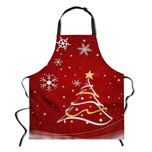 Unisex Christmas Apron, Snowflake and Christmas Tree Apron for Kitchen BBQ Restaurant Gardening Cute Adjustable Bib Neck Washable Apron Non-fading Red