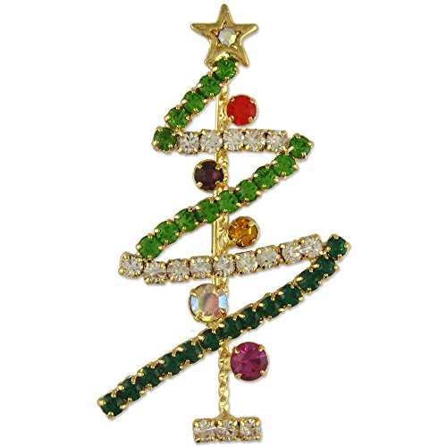 Brooch Swarovski Tree Christmas (NEW CRYSTAL CHRISTMAS TREE BROOCH PIN MADE WITH SWAROVSKI ELEMENTS)