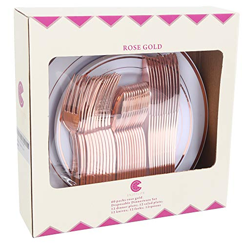 60pcs Rose Gold Plastic Plates, Rose Gold Plastic Silverware, Gold Plates for Parties, Disposable Wedding Plates in Heavy Weight,Enjoylife(Rose Gold) (rose gold) ()