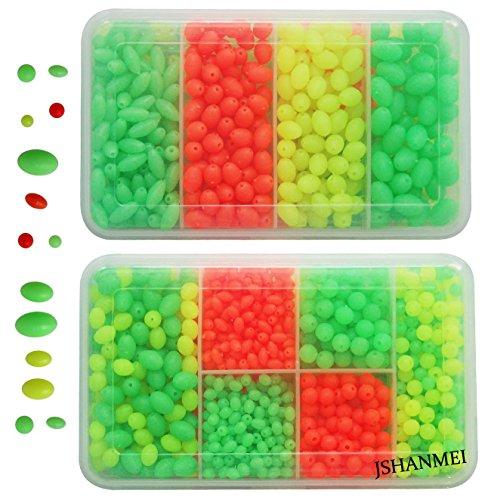 JSHANMEI 1000Pcs/box Soft Plastic Luminous Plastic Oval Shaped Beads Round Beads Fishing Lures Fishing Bead Fishing Tackle Tools (Lure Beads)