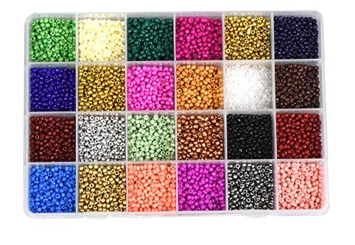 Mandala Crafts Glass Seed Beads, Small Pony Beads Assorted Kit with Organizer Box for Jewelry Making, Beading, Crafting (Round 3X2mm 8/0, 24 Assorted Multicolor Set Combo ()