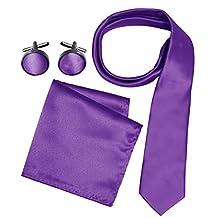 Peach Couture Men's Silk Feel Necktie Cufflinks Pocket Square Handkerchief Set (Solid, Purple)