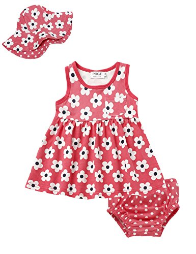(Baby Girl Wear 3 Pieces Set Sleeveless Polka Dot A-Line Dress with Panty and Hat (12-24 Months, # Red))