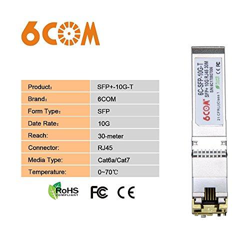 6COM Ubiquiti Compatible 10GBase-T SFP+ 10 Gigabit RJ45 Copper Transceiver 30m by 6COM (Image #5)