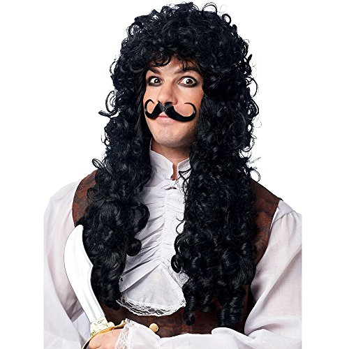 Franco American Novelty Company Captain Hook Wig and Mustache Costume Accessory Set, White, One -
