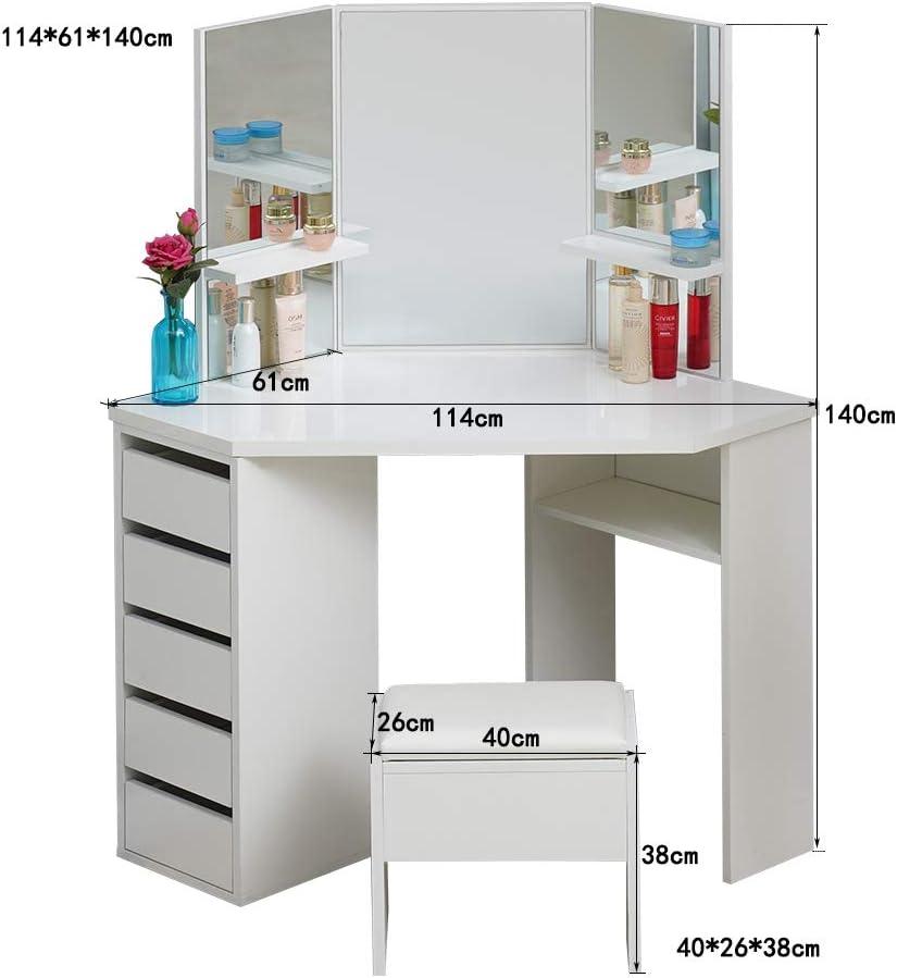 3 miroirs et tabouret Coiffeuse Curved Shape 5 tiroirs Blanc TUKAILAI Bureau de maquillage avec 5 tiroirs 5 tiroirs et 1 Tabouret avec 3 Miroir Table de Maquillage