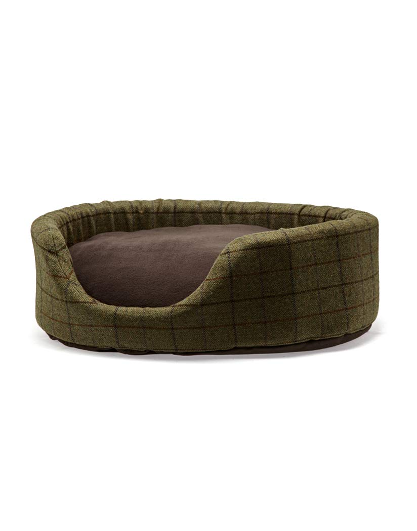 Country Attire Tweed Oval Dog Bed With Removable Fleece Cushion Womens Dog Bed Medium Tweed
