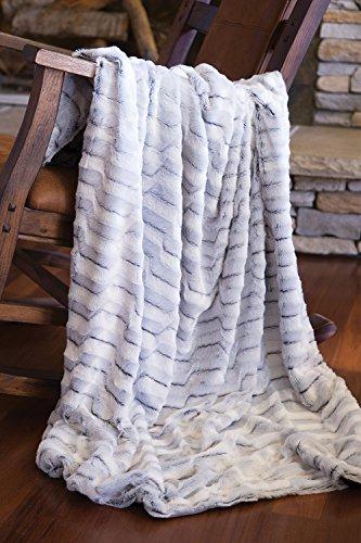 Faux Fur Throw Blanket, Modern Grey Plush Rabbit