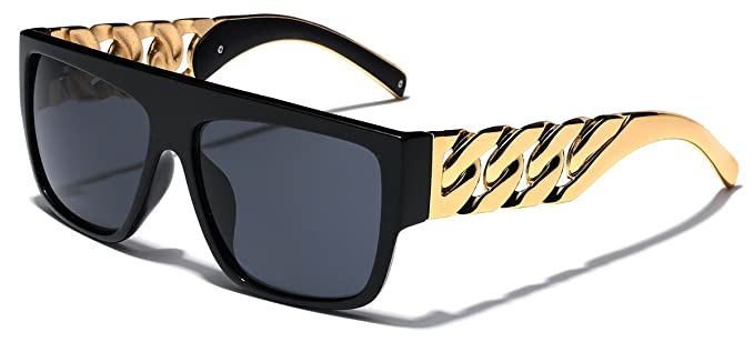 8fdd2ba07a93 Amazon.com: Solid Metal Cuban Gold Link Chain Arms Square Flat Top  Sunglasses: Clothing