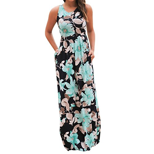 (Mother's Day Women's Sleeveless Round Collar Wrapped Casual Floral Print Fashion Pocket Maxi Dress Beach Floor Dress Blue)