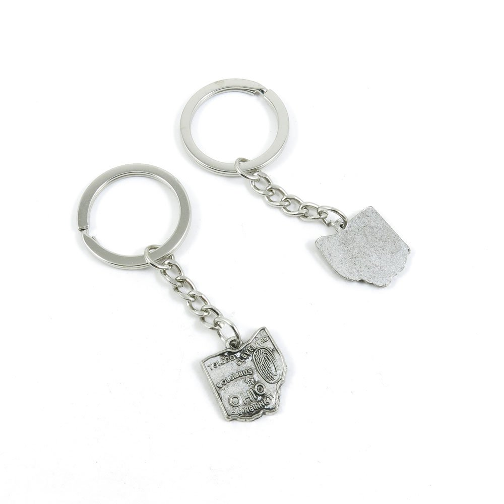 40 Pieces Keychain Door Car Key Chain Tags Keyring Ring Chain Keychain Supplies Antique Silver Tone Wholesale Bulk Lots M9XA2 Ohio Map Tag
