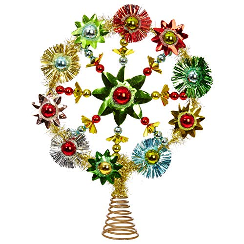 - RAZ Imports Retro Multicolored Starburst 9.5 x 12.5 Inch Decorative Christmas Tree Topper