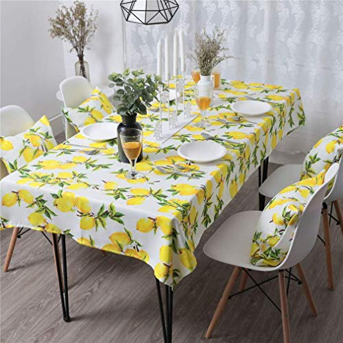 (PinkMemory Rectangle Dinning Tablecloth Yellow Lemon Oblong Table Linen Home Kichen Decoration Tabletop Waterproof Non-Slip Durable )