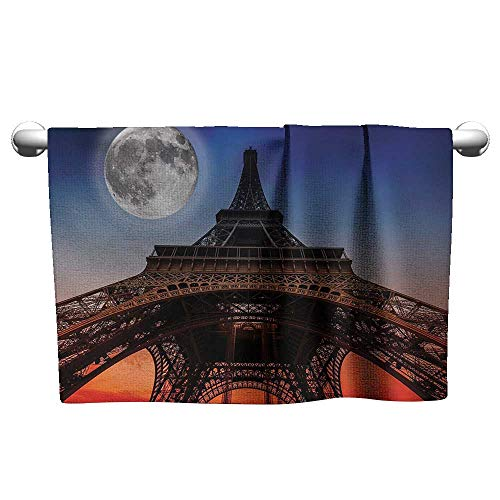 alisoso Eiffel Tower,Hand Towel Full Moon Night Sky Dusk Digital Style Minimal French Flag Eiffel Tower Digital Fast Drying Fitness Hand Towels Navy Red W 28