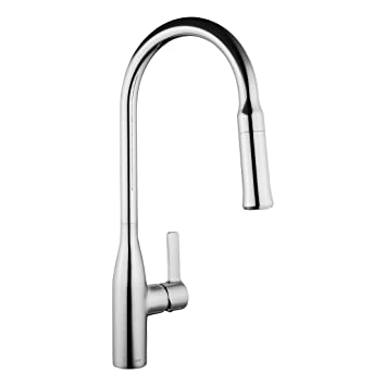 Keewi Kitchen Faucet Chrome Single Handle Pull Down Deck Mounted