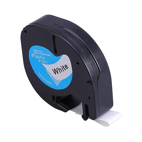 STOBOK Cinta de etiquetas de plástico Negro sobre cinta de ...