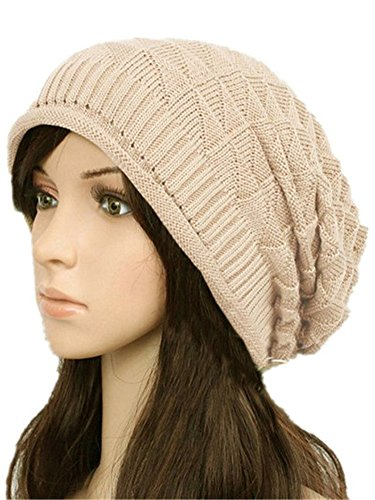 (Ewandastore Women Girls Winter Warm Triangle Pattern Slouchy Knit Beret Beanie Crochet Rib Hat Ski Cap)