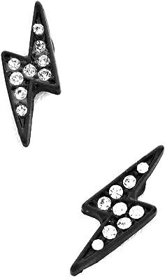 Clay Earrings Ceramic Earrings Hypoallergenic Black Lightning Bolt Earrings Handmade