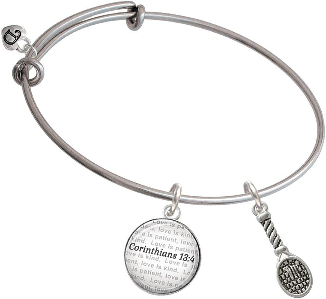 Tennis Racquet Bible Verse Corinthians 13:4 Glass Dome Bangle Bracelet