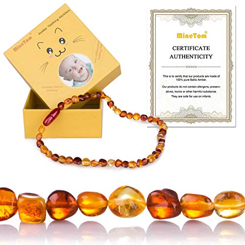 Minetom Baltic Amber Teething Necklace for Baby, Natural Teething Pain Relief for Babies Drooling & Fussiness Reduce (Cherry+Honey)