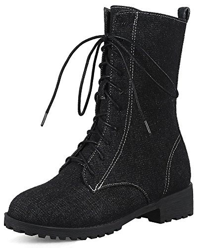 Easemax Women's Trendy Denim Chunky Low Heel Round Toe Lace Up Martin Ankle High Booties Black lzh5GSA