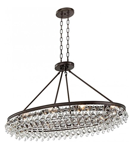 (Crystorama Calypso 8 Light Crystal Teardrop Vibrant Bronze Oval Chandelier)