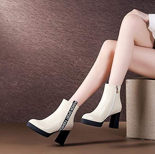 Caviglia Tacco Pelle Con Martins Stivali White Hy Velvet Impermeabili In Stivaletti Comfort inverno Spesso Invernali Pesante Da Fondo Autunno Donna qzwFnn7tX