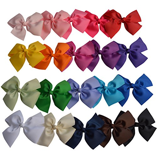 Bzybel 20pcs Boutique 5'' Grosgrain Ribbon Hair Bows Hair Clips Barrettes for Baby Girls Teens Young Women by Bzybel