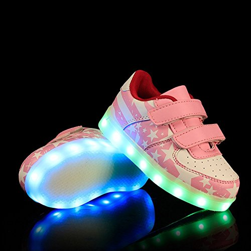 sexphd Boys Girls 7 Colors LED Luminous Knit Sneakers Fashion USB Charging Light Shoes