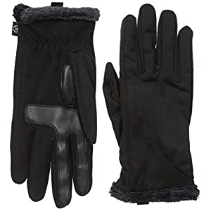 Isotoner Women's Softshell smarTouch Gloves, Black, Small/Medium
