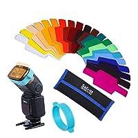 Selens Universal Flash Gels Lighting Filter SE-CG20-20 pcs Kits de combinación para Canon Nikon Sony Godox Yongnuo Luz de flash de cámara