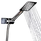 e hose square - Handheld Shower Head Set - Square Rain Head + 5 ft Shower Hose | Stainless Steel 304| High Pressure |with Shower Mount Bonus for a Luxury Shower Experience by Happy-li