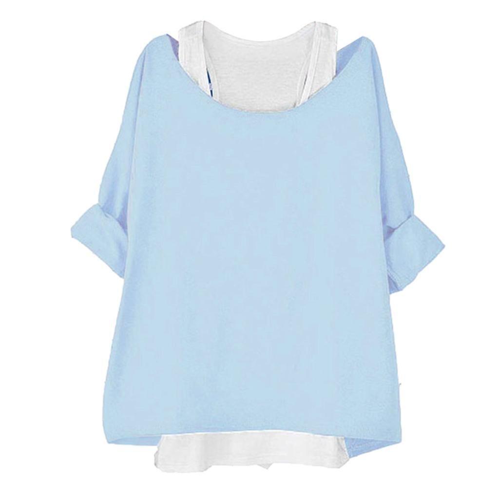 XOWRTE Long Sleeve T Shirt Women Blouse Two Pieces Tank Loose Black Blue Top Fashion