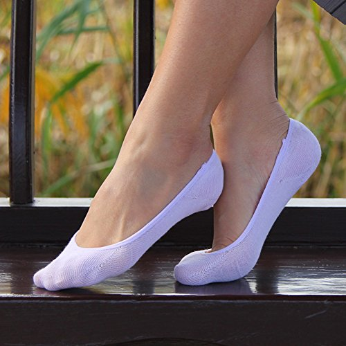 6 Pairs Womens No Show Non Slip Cotton Loafer Liner Crew Socks by Chalier