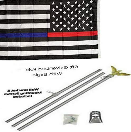 Kaputar 3x5 3x5 USA Thin Red Blue Line American Flag Galvanized Pole Kit Eagle Top | Model FLG - 6030