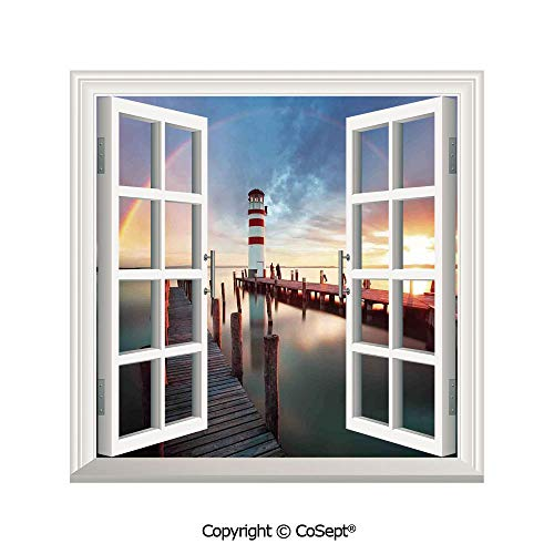 SCOXIXI Window Wall Sticker,Sunset at Seaside with Wooden Docks Lighthouse Clouds Rainbow Waterfront Reflection,3D Window View Decal Home Decor Deco Art (26.65x20 inch)