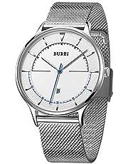 BUREI Unisex Watch Ultra Thin Minimalist Dress Wrist Watches with Big Dial Date Calendar Mineral Glass Calfskin Leather Strap& Stainless Steel Mesh Band