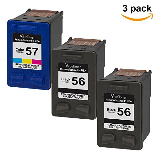 Valuetoner Remanufactured Ink Cartridge Replacement for Hewlett Packard HP 56 & HP 57 CD944FN C6656AN C6657AN (2 Black, 1 Tri-Color) 3 - 56 Black