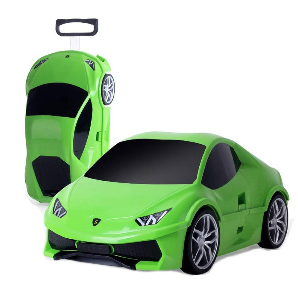 Children's Trolley Case, Children Can Ride A Car Cartoon Suitcase, Drag The Suitcase (18 Inch) (Color : Green, Size : M)