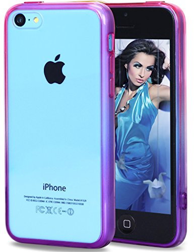 iPhone 5C Case, Vofolen Gradient Edge Colorful iPhone 5C Slim Cover Clear Transparent Hard Case Skin Flexible Rubber Soft Bumper Armor Defender Protective Shell for iPhone 5C -Rose/Purple (Colorful Cases Iphone 5c)