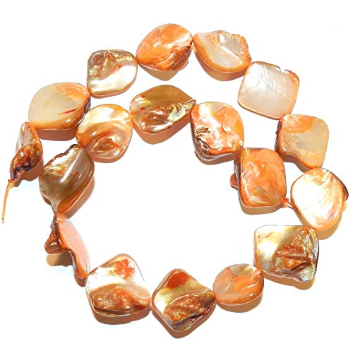 - Orange Diamond Nugget 14mm - 24mm Mother of Pearl Shell Beads 15#ID-6699