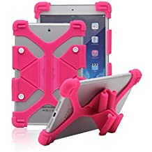 "Tsmine Acer Iconia One 7 B1-730 7"" ShockProof Case - Universal Soft Silicone Elastic Case Stand Handle Cover,Rose Pink"