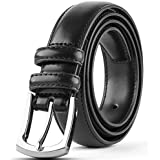 "Men's Genuine Leather Dress Belt Classic Stitched Design 30mm""ALL LEATHER"" - Black Size 50"