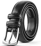 Men's Genuine Leather Dress Belt Classic Stitched Design 30mm 'ALL LEATHER' Black Size 60