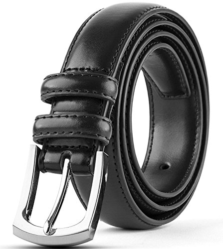 Men's Genuine Leather Dress Belt Classic Stitched Design 30mm 'ALL LEATHER' Black Size 38