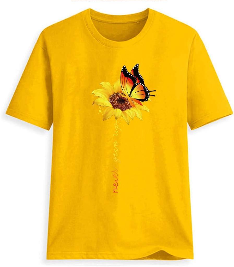 YAnGSale Top Women T-Shirt Sunflower Print Tee Tops Short Sleeve Shirts Plus Size Blouse Comfy Tunics Vest Streetwear