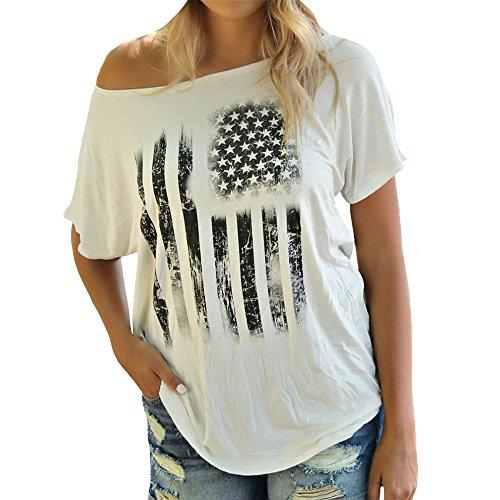 VANCOL Women's Print Sexy Slope Shoulder Short Sleeve White Loose Plus Size T-Shirt Top (XL)