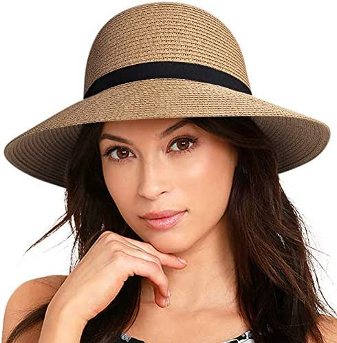 FURTALK Women Wide Brim Sun Hat Summer Beach Cap UPF50 UV Packable Straw Hat for Travel
