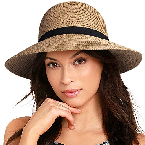 FURTALK Women Brim Sun Hat Summer Beach Cap UPF UV Packable Straw Hat for Travel(Medium, Adult NormalBrim, Khaki) (Havana Hat Women)