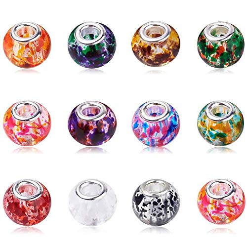 AIPRIDY 100Pcs 15x11mm Painting Murano Large Hole Glass Beads Mix Color with Silver Brass Core European Charm for Jewelry Making